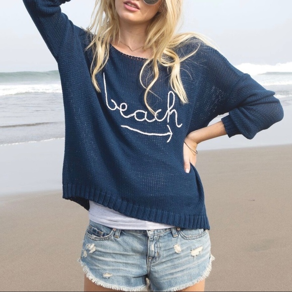 New Wooden Ships Navy Beach Sweater Boutique